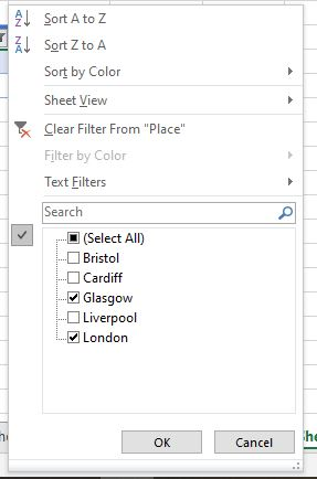 Filtering in a Table