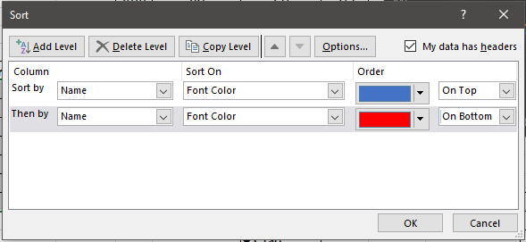 font color sorting