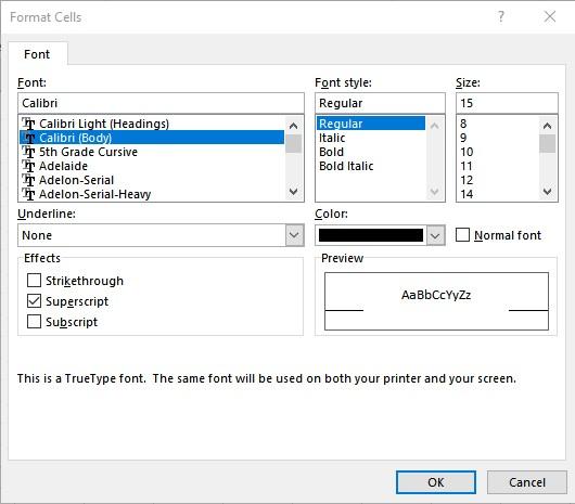 Superscript in Excel