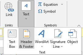 Header & Footer Button Headers and Footers in Excel