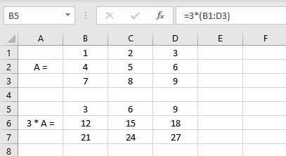 matrix multiplication by a scalar