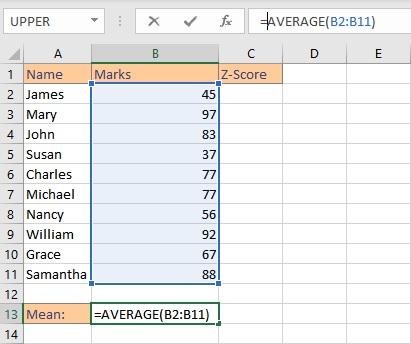 calculate Z-Score in Excel