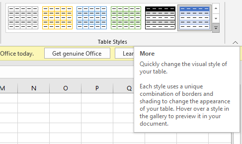 More Table Styles Button