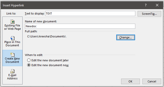 Hyperlinking to a New Excel Document