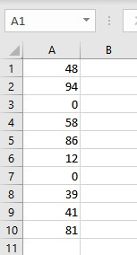 number list including zeroes