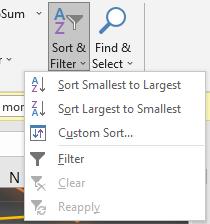 Sorting Data in Excel