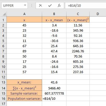 pop variance formula