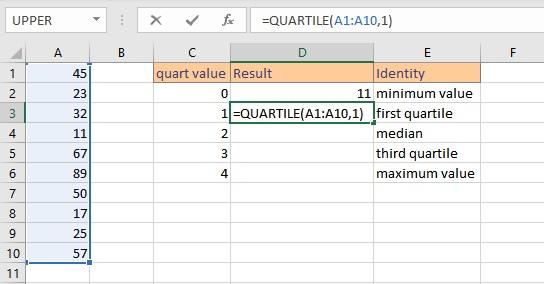 Find Quartiles in Excel