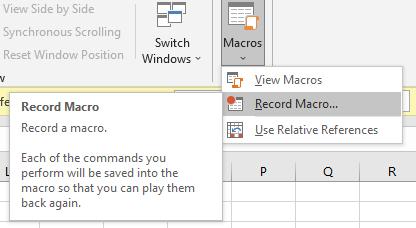 Record Macros in Excel
