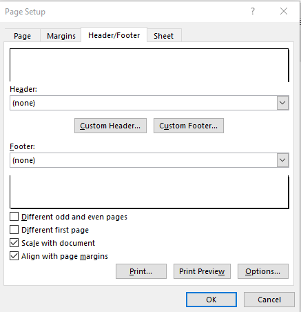 Removing Header/Footer from Page Setup Options Headers and Footers in Excel
