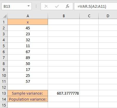 sample variance by vars result