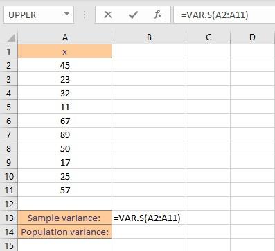 sample variance by vars