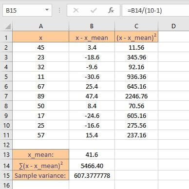 sample variance result