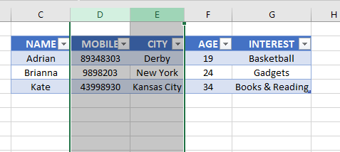 Selected Columns