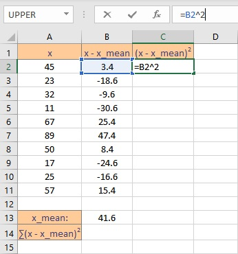 square of deviation 1