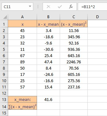 square of deviations list