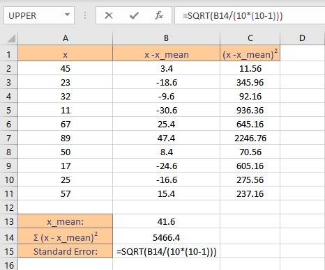 standard error calculation 1