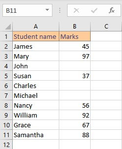 student list with marks