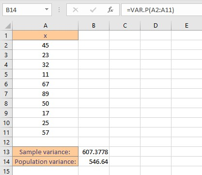 variance by varp result