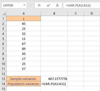 variance by varp