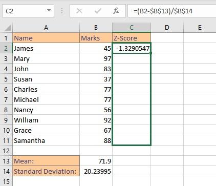 z score math formula copy