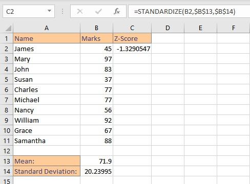 z score single result