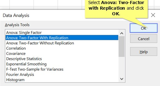 Select Two Factor Anova in Excel