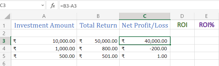 Calculating net profit or loss in Excel