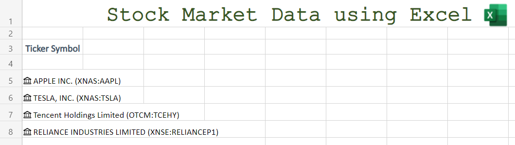 Converted Ticker to Stocks in Excel