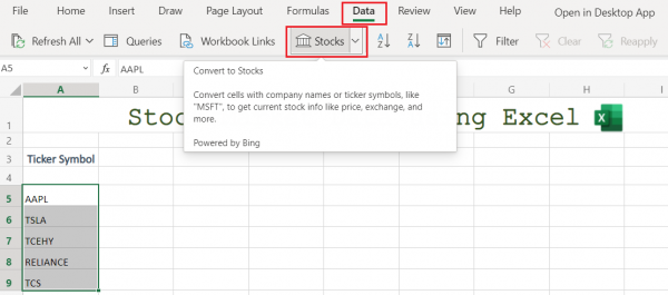 Converting Ticker Symbols to Stocks in Excel