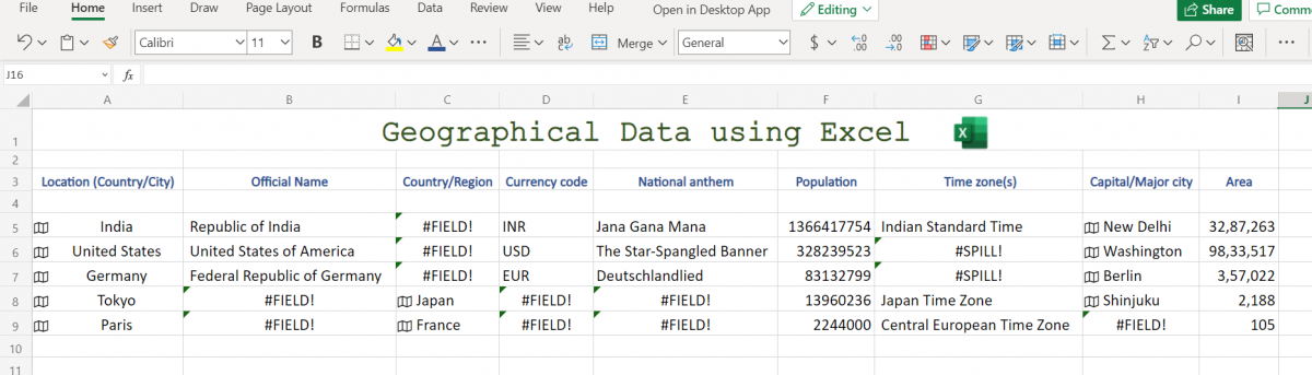 Geography Data in Excel