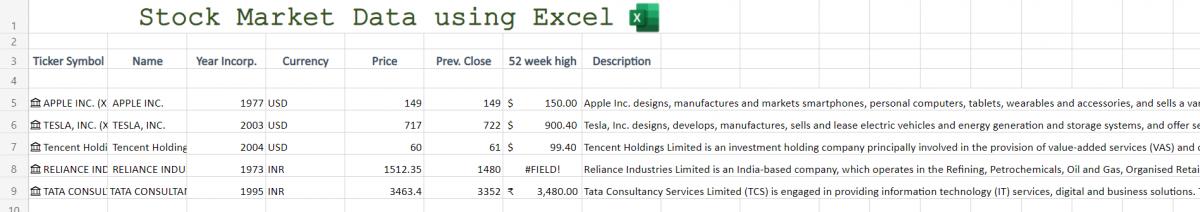 Stock Market Data in Excel