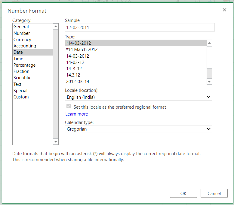 Format Date option menu in Excel