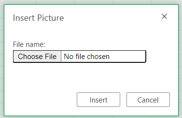 Insert image dialogue box in Excel