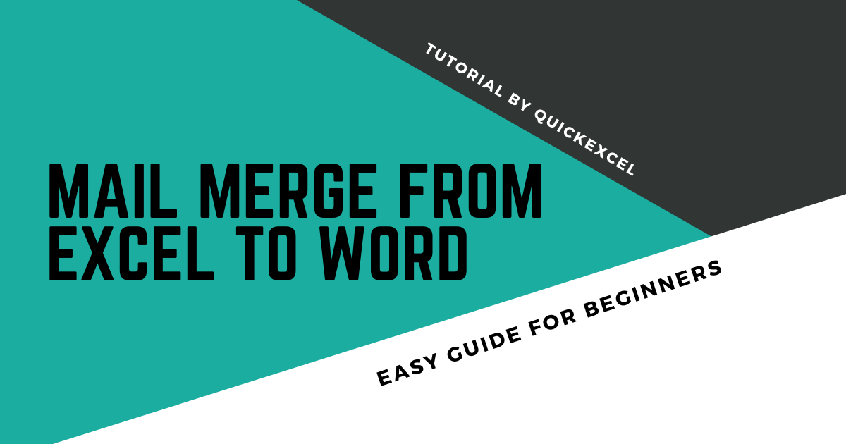Mail Merge From Excel to Word