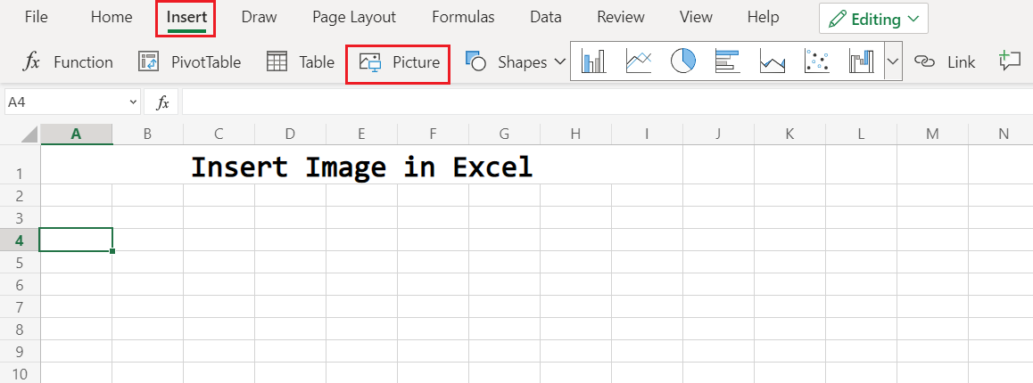 Navigate to Insert in Excel