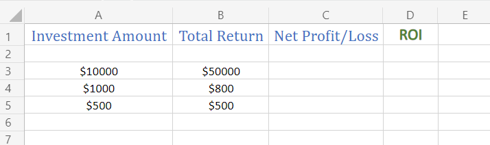 Sample Data to calculate ROI in Excel