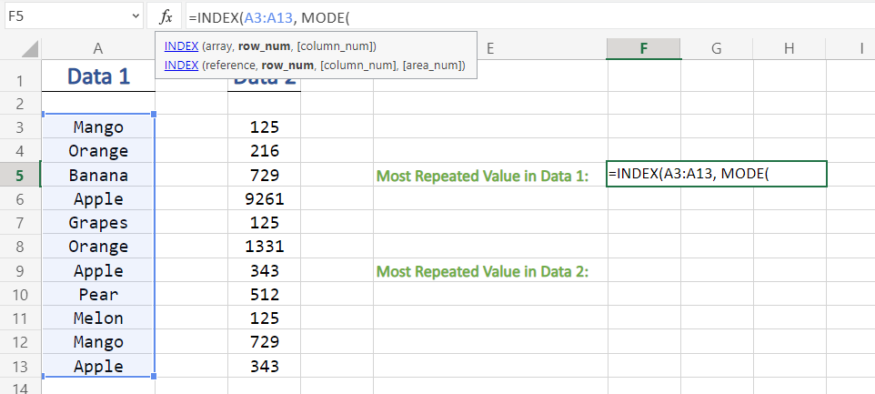 Using Mode Function in Excel