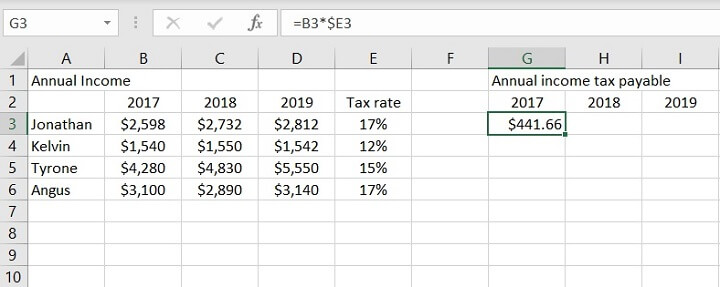 Absolute Reference of Dollar Sign ($) in Excel
