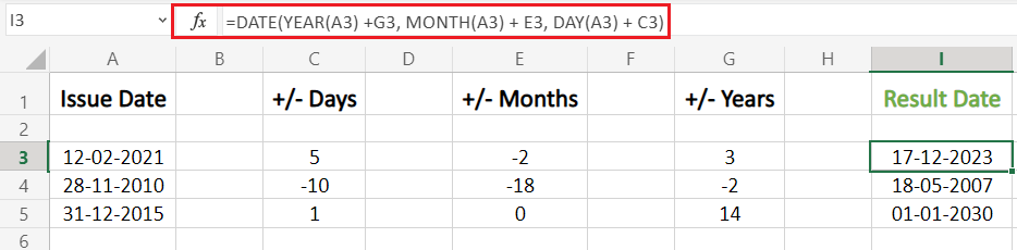 Add Or Subtract Days Months Years To A Date in Excel