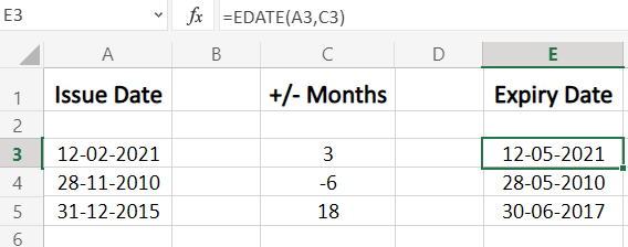 Using EDATE function to add or subtract months from a date in Excel