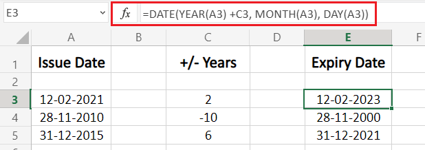 add or subtract years to a date in Excel