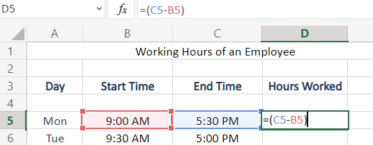 Apply Subtraction Of Time in Excel