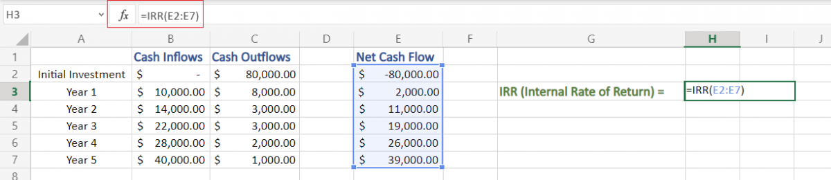 Applying IRR formula in Excel