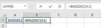 bin2dec formula