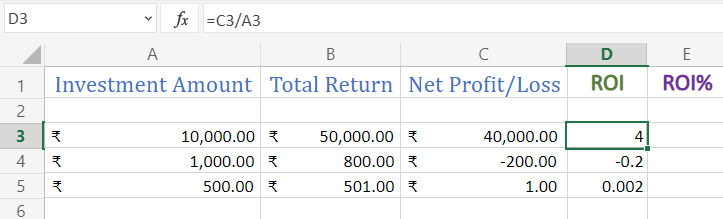 Calculate ROI in Excel