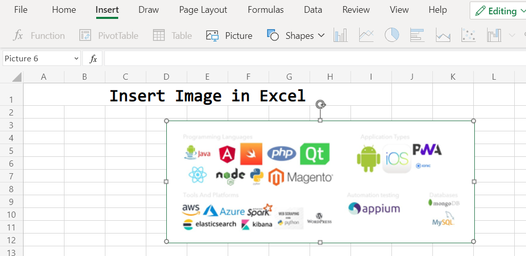 Change position of image in excel