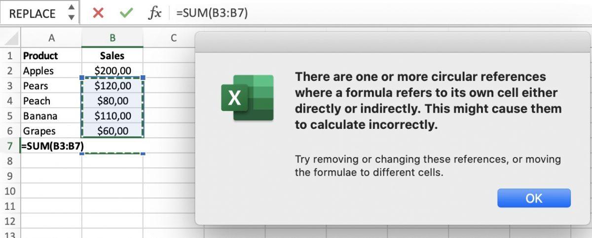 Circular Reference Error Notification in Excel