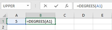 List of Common Trigonometric Functions in Excel degrees