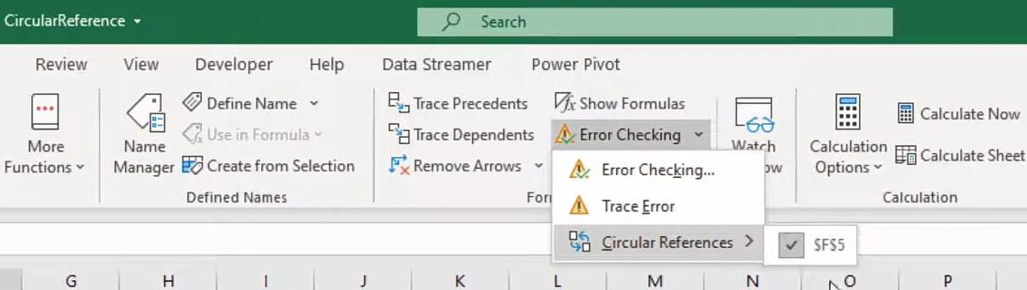 Error Checking for Circular References in Excel